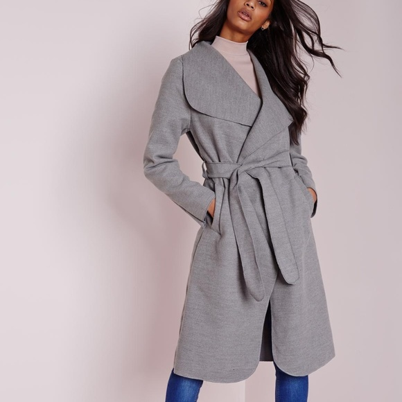 2c8cdf4c3 Long Belted Waterfall Coat Light Grey